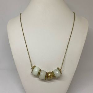 Canvas Jewelry Milky White Gold Bead Necklace NEW